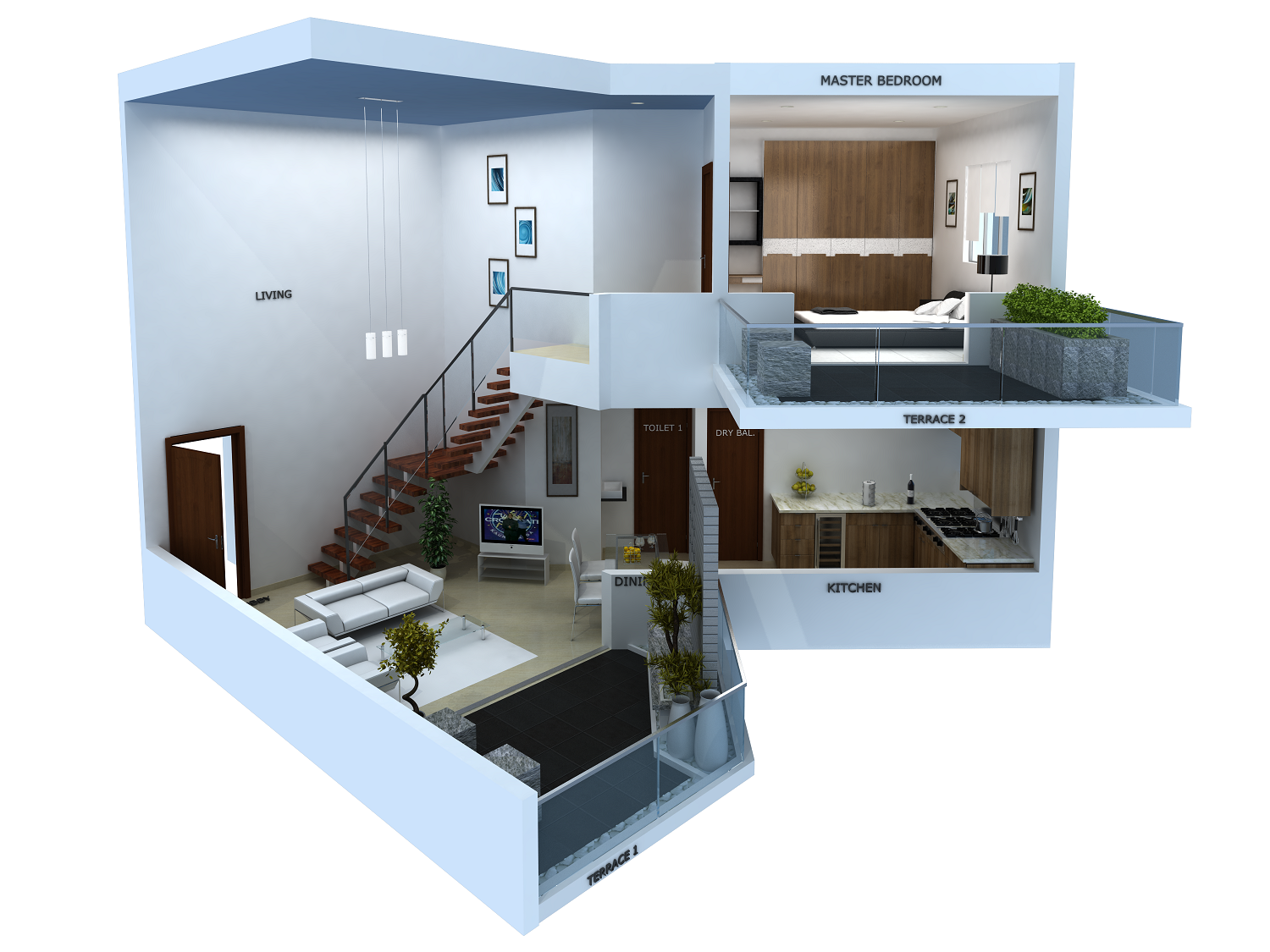 Photo 1 bhk duplex house plans images 3d duplex house for 1 bhk room interior design ideas